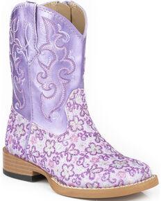 Roper Infant's Floral Glitter Square Toe Western Boots, Purple, hi-res