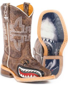 "Tin Haul Boys' Tan and Red 8"" Leather Western Boots - Square Toe , Tan, hi-res"