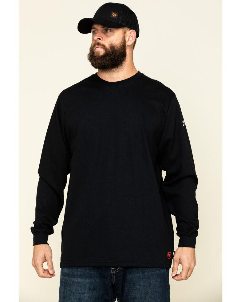Ariat Men's Black FR Longhorn Graphic Long Sleeve Work T-Shirt - Tall , Black, hi-res