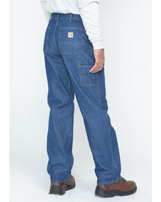 Carhartt Men's Flame-Resistant Denim Dungaree Work Pants, Denim, hi-res