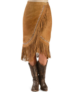 Kobler Leather Women's Yuma Fringe Suede Skirt, Cognac, hi-res