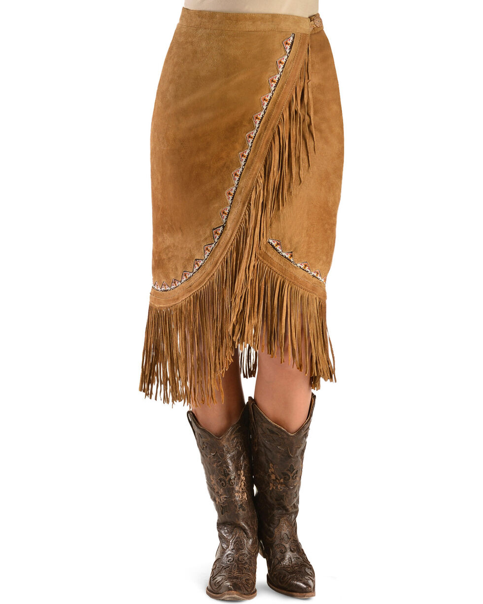 Kobler Leather Women's Yuma Fringe Suede Skirt, Cognac, hi-res
