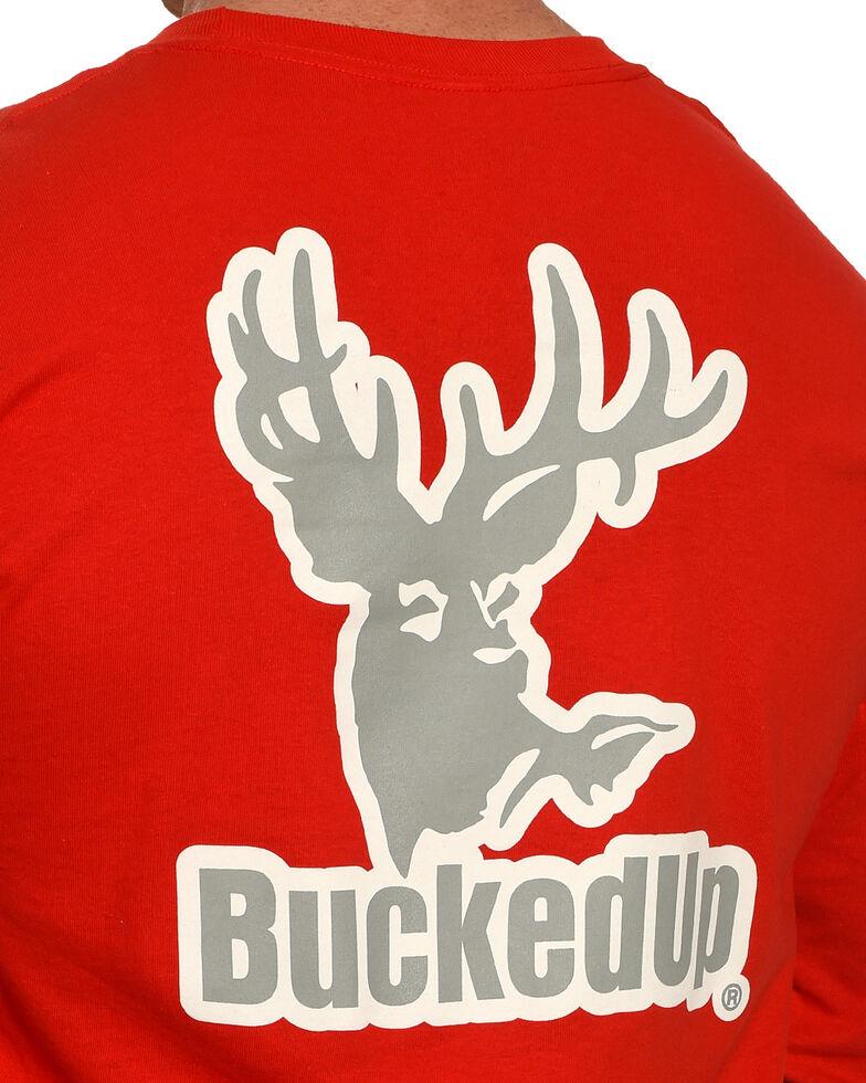 BuckedUp Men's Silver Logo Long Sleeve T-Shirt , Red, hi-res