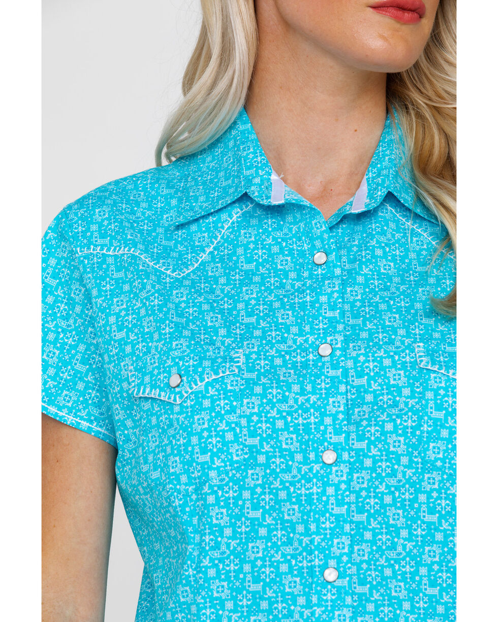 Rough Stock By Panhandle Women's Portero Geo Print Short Sleeve Western Shirt , Turquoise, hi-res