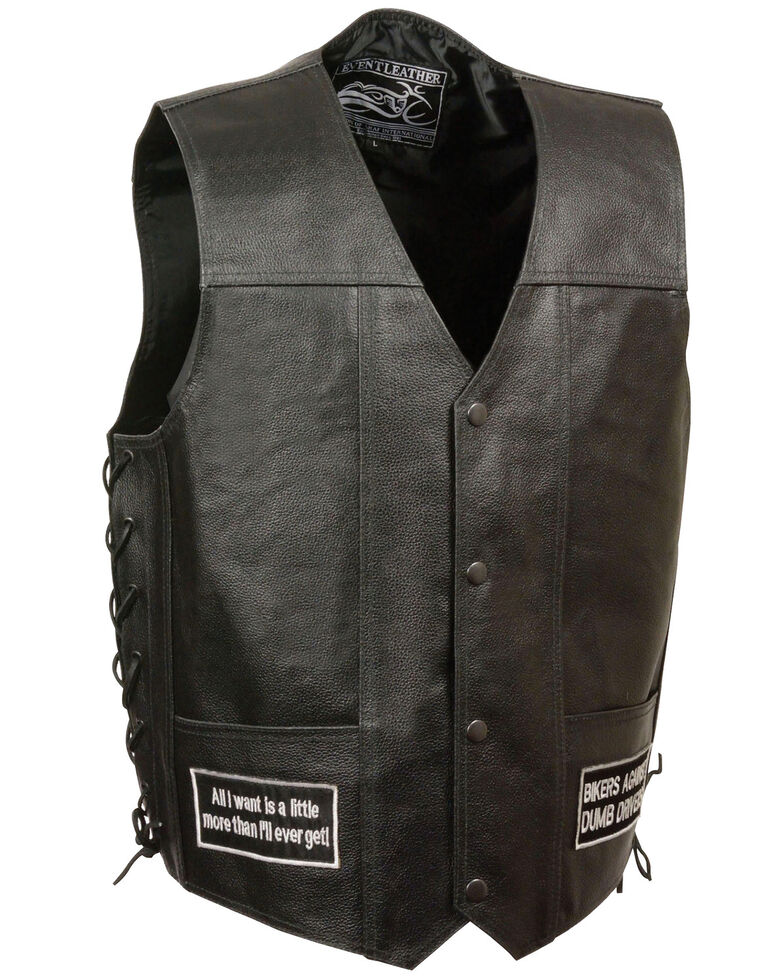 Milwaukee Leather Men's Side Lace Eagle & Flag Patch Vest - 3X, Black, hi-res