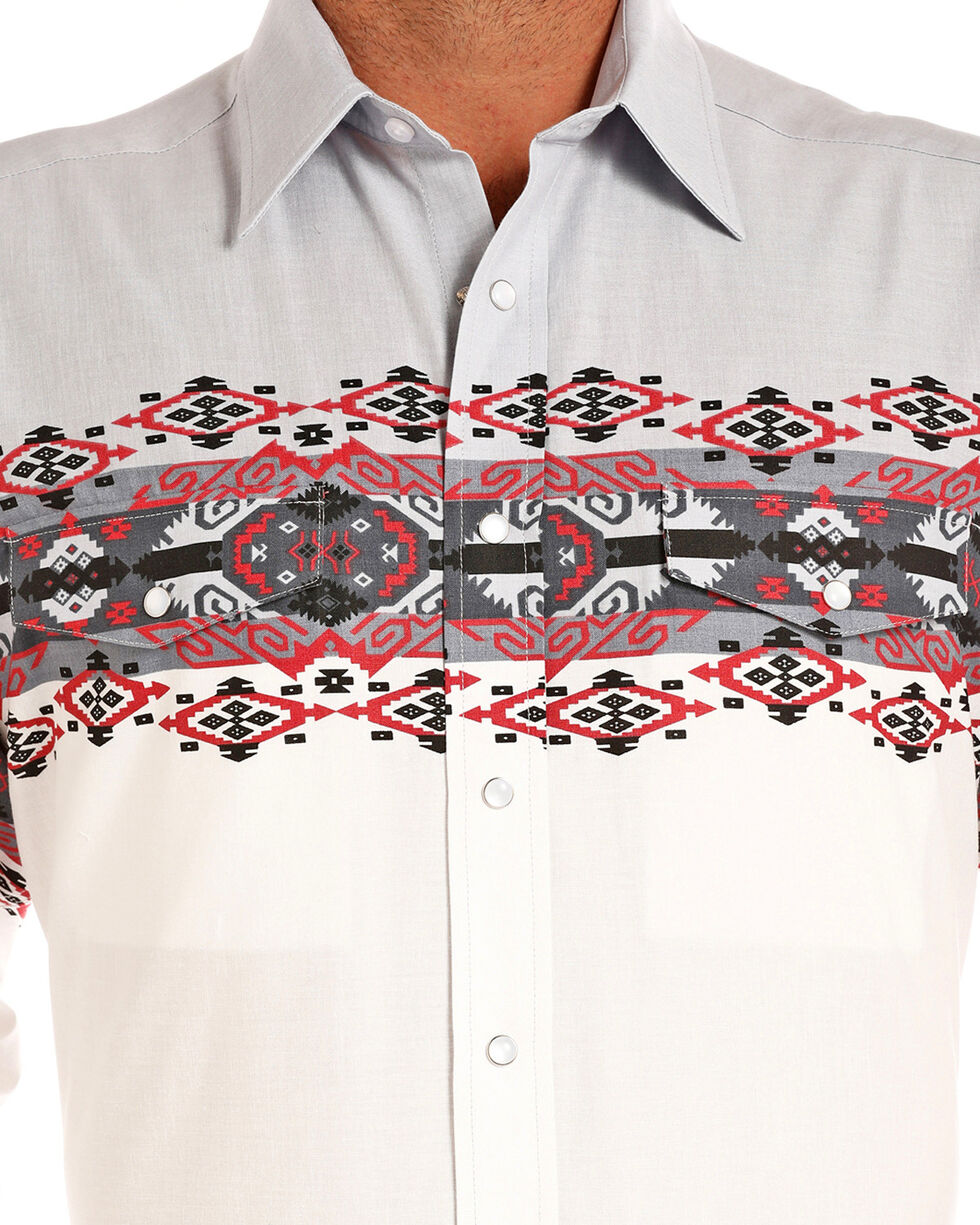 Panhandle Men's Aztec Border Print Long Sleeve Western Shirt, White, hi-res