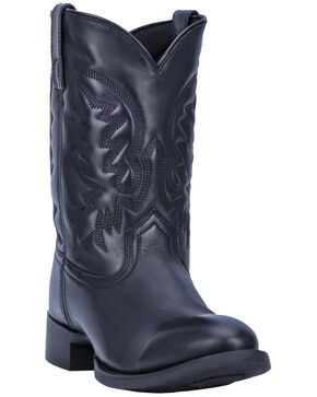 Laredo Men's Crawford Western Boots - Roper Toe, Black, hi-res