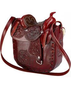 Western Express Women's Leather Saddle Bag, Wine, hi-res