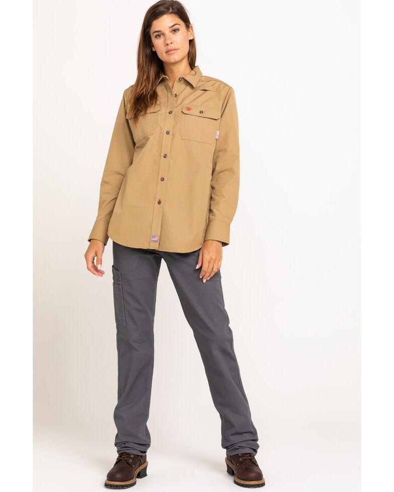 Ariat Women's Khaki Featherlight Long Sleeve FR Work Shirt , Beige/khaki, hi-res