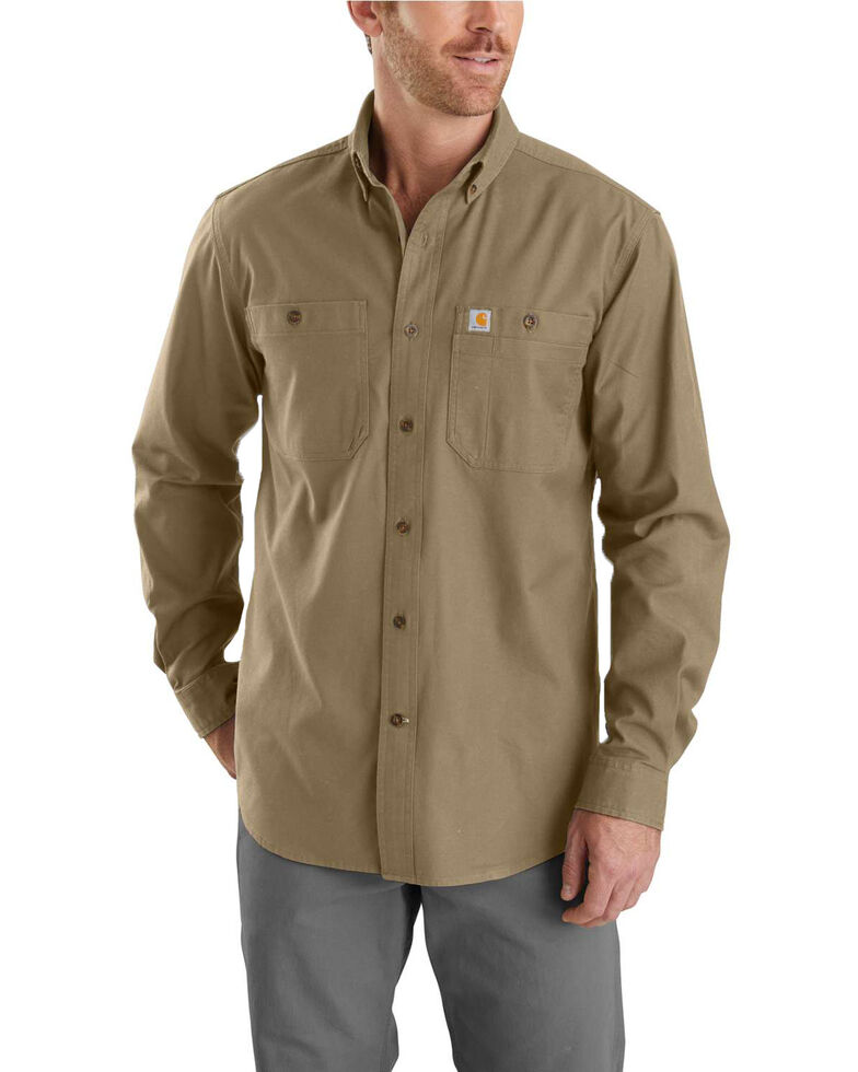 Carhartt Men's Rugged Flex Rigby Long Sleeve Work Shirt - Big , Beige/khaki, hi-res