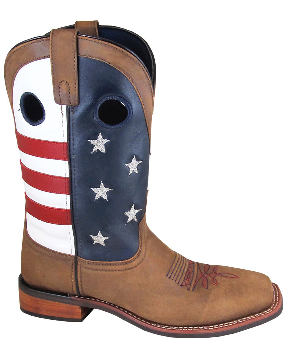 Smoky Mountain Men's Stars and Stripes Western Boots - Wide Square Toe, Distressed Brown, hi-res