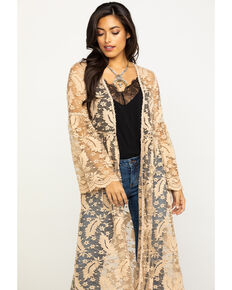 Honey Creek Women's Tan Lace Bell Sleeve Duster, Tan, hi-res