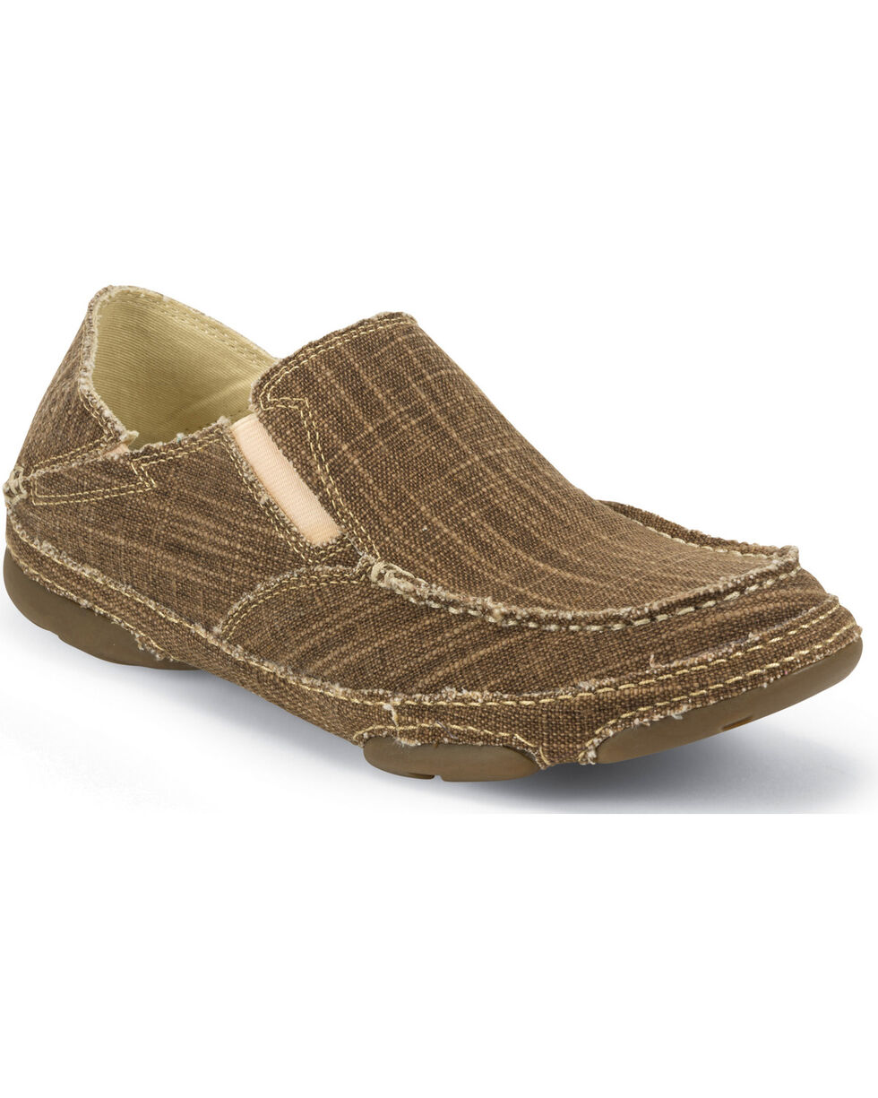 Tony Lama Men's Straw Canvas 3R Casual Slip-On Shoes, Brown, hi-res