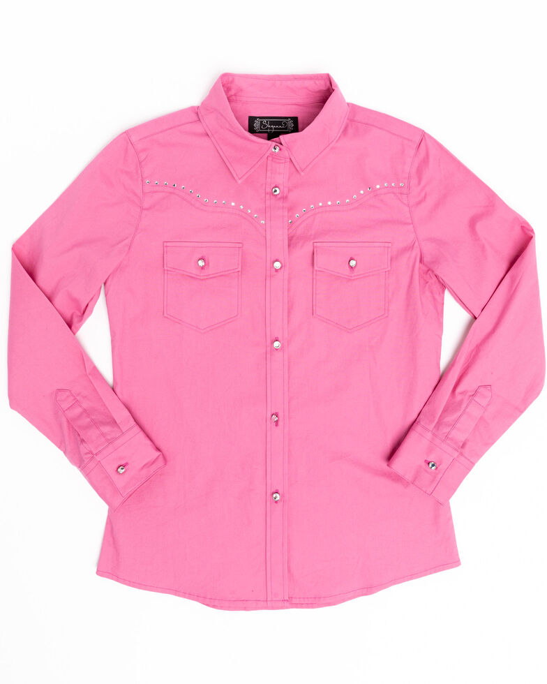 Shyanne Girls' Pink Rhinestone Long Sleeve Western Shirt, Pink, hi-res