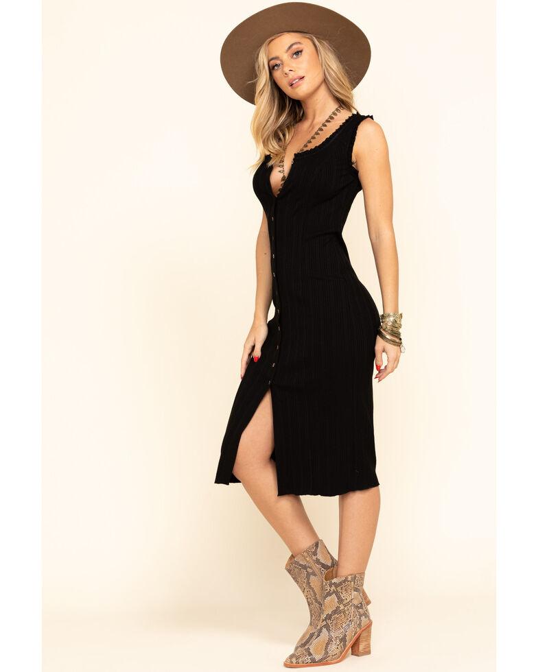 Shyanne Women's Black Button Front Bodycon Midi Dress, Black, hi-res