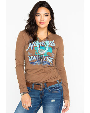 Panhandle Women's Native Nomad Long Sleeve Top, Brown, hi-res