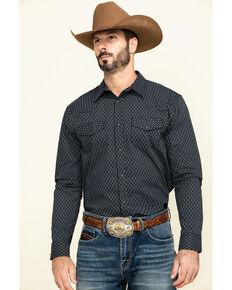 Gibson Men's Wild Oats Geo Print Long Sleeve Western Shirt , Black, hi-res
