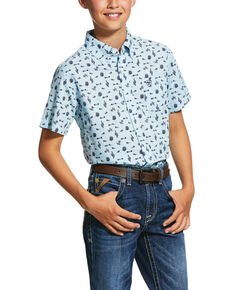 Ariat Boys' Norristown Cactus Geo Print Short Sleeve Western Shirt , Light Blue, hi-res