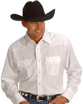 Wrangler Men's Western Silver Edition Shirts, White, hi-res