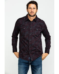Moonshine Spirit Men's Punk Paisley Print Long Sleeve Western Shirt , Maroon, hi-res