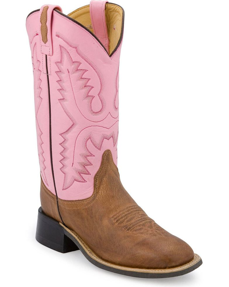 Old West Pink Leather Western Boots - Square Toe, Tan, hi-res