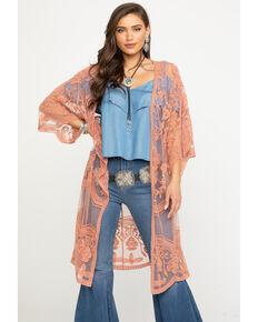 Polagram Women's Lace Long Kimono, Coral, hi-res