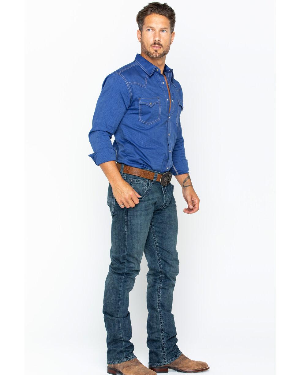 Wrangler Retro Men's Dobby Long Sleeve Western Shirt, Blue, hi-res