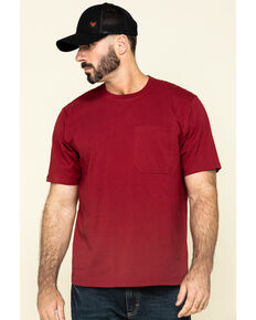 Hawx Men's Red Solid Pocket Short Sleeve Work T-Shirt , Red, hi-res