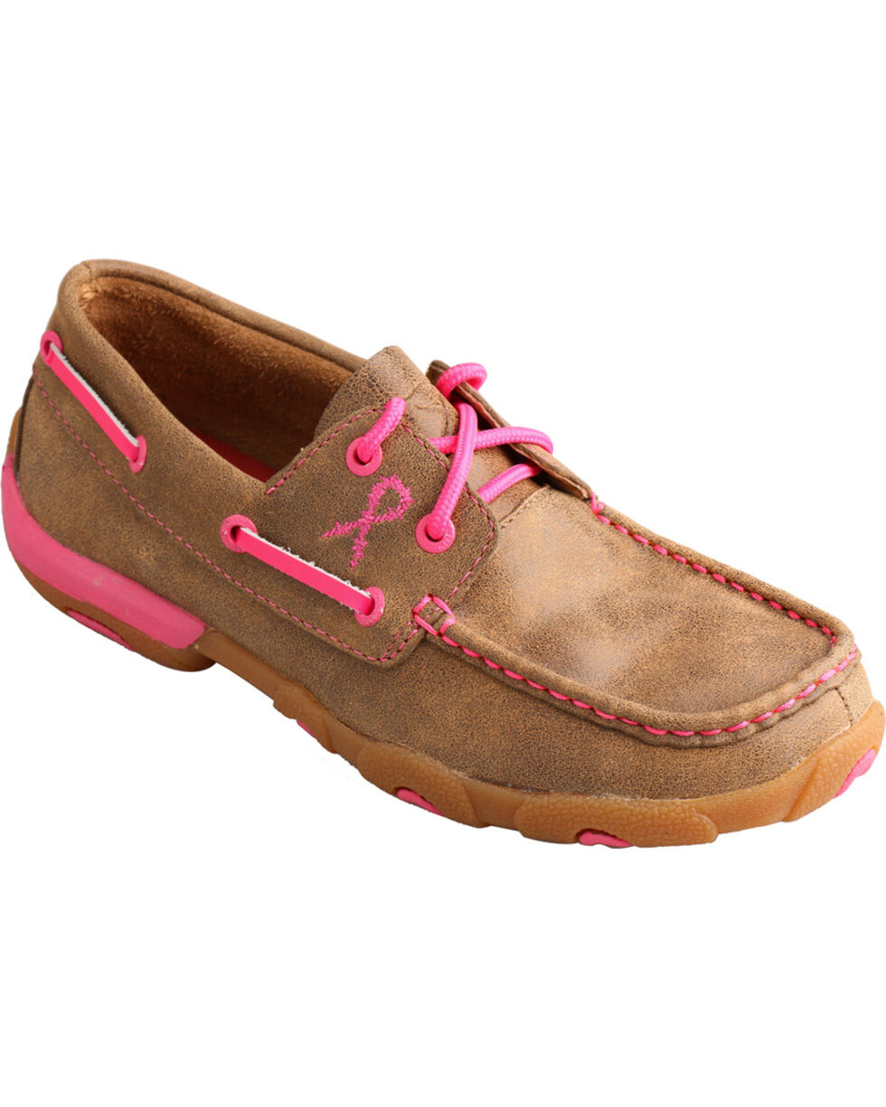 Twisted X Women's Breast Cancer Awareness Driving Moccasins, Tan, hi-res
