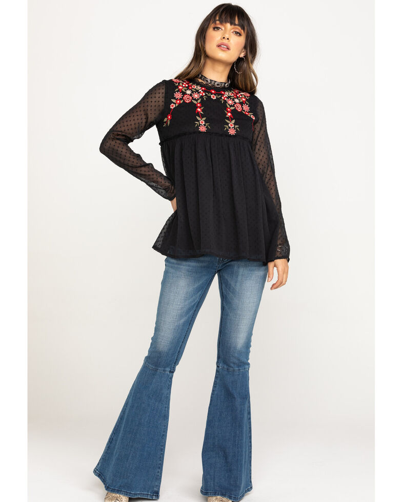Studio West Women's Gypsy Rose Embroidered Long Sleeve Top, Black, hi-res