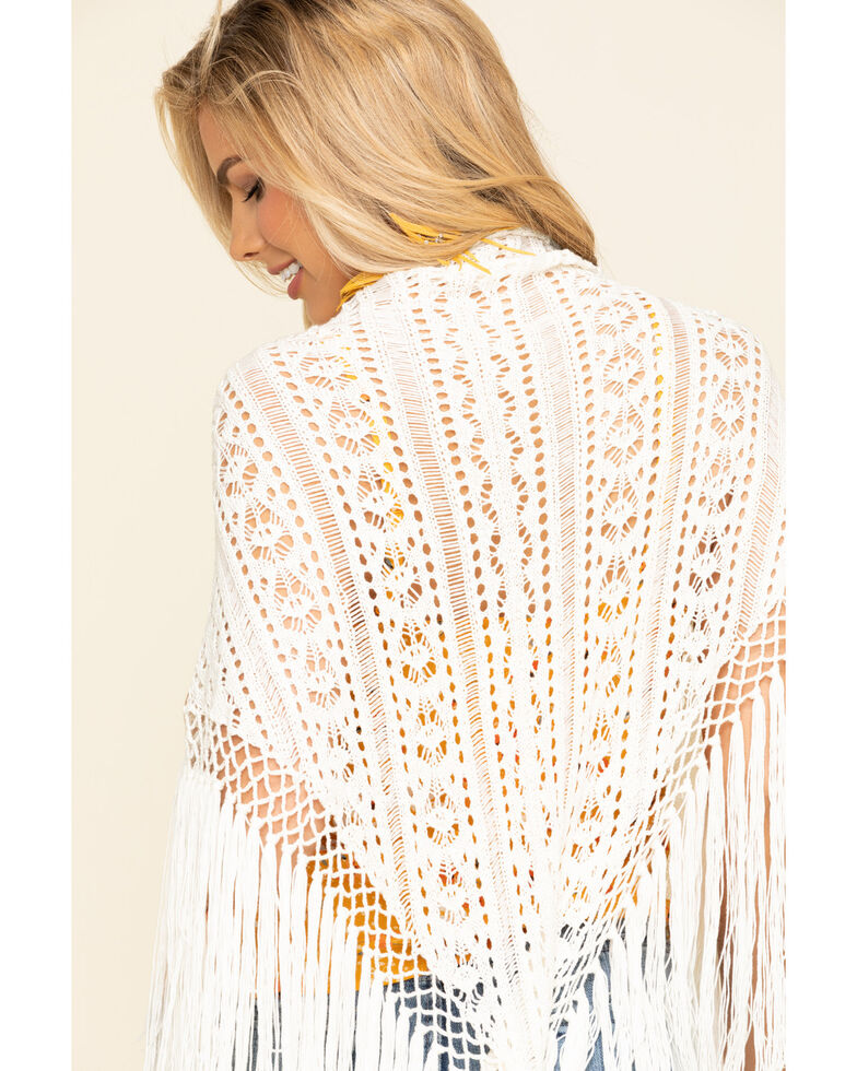 Idyllwind Women's Bohemian Crochet Fringe Wrap, Natural, hi-res