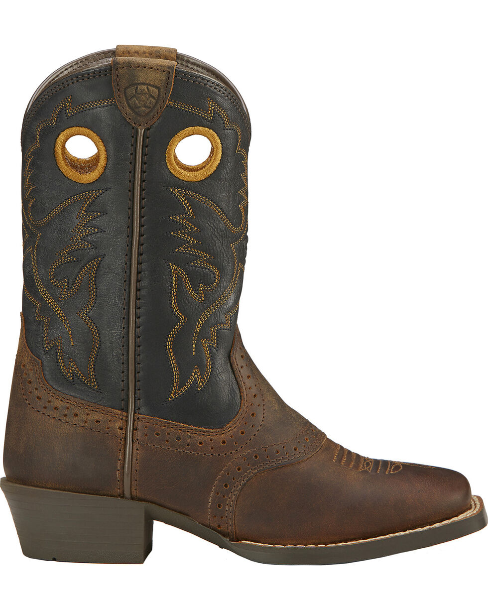 Ariat Kid's Square Toe Roughstock Western Boots, Brown, hi-res