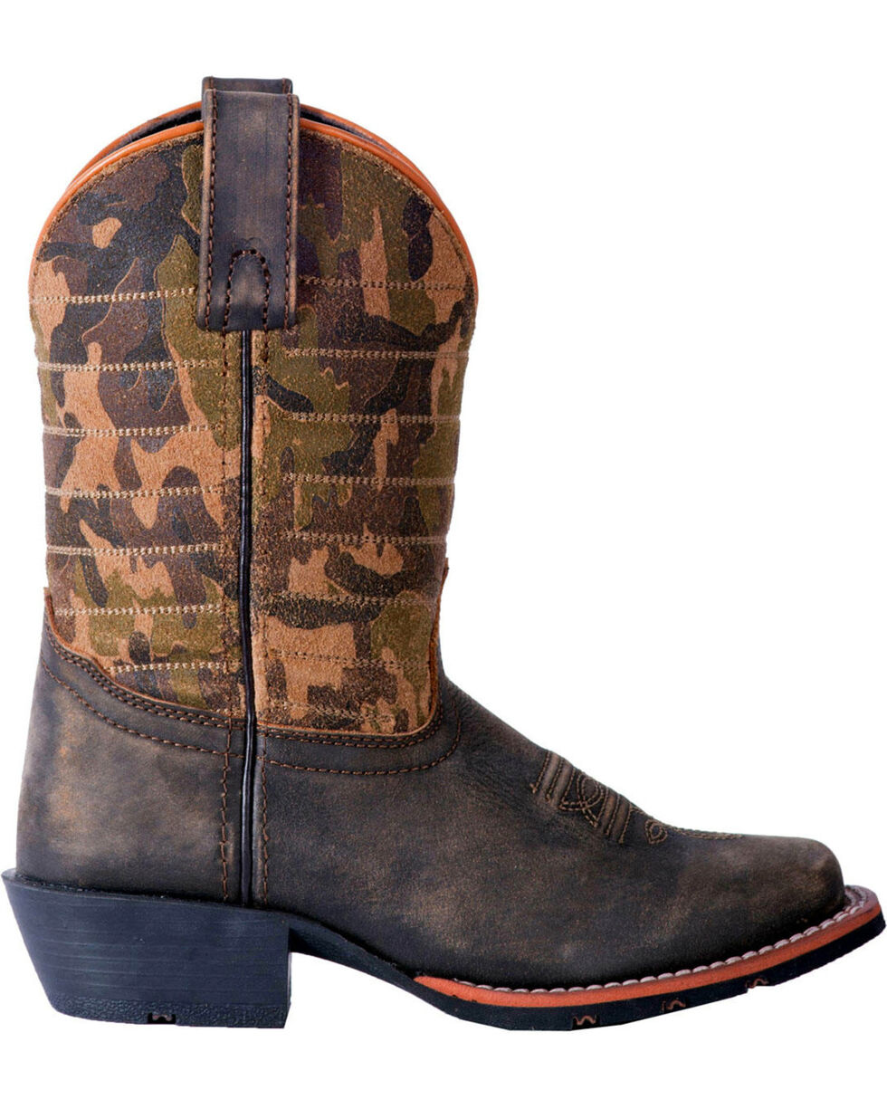 Dan Post Boys' Foxtrot Camo Cowboy Boots - Square Toe, Dark Brown, hi-res
