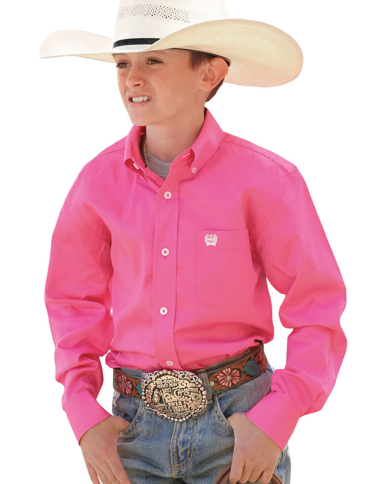 Cinch Boys' Hot Pink Long Sleeve Shirt, Pink, hi-res
