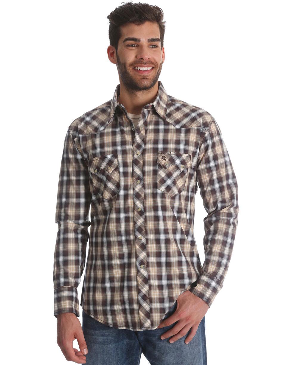 Wrangler Retro Men's Brown Plaid Long Sleeve Shirt, Brown, hi-res