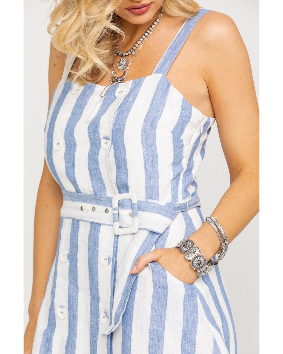 Miss Me Women's Blue Stripe Belted Button Dress , Multi, hi-res
