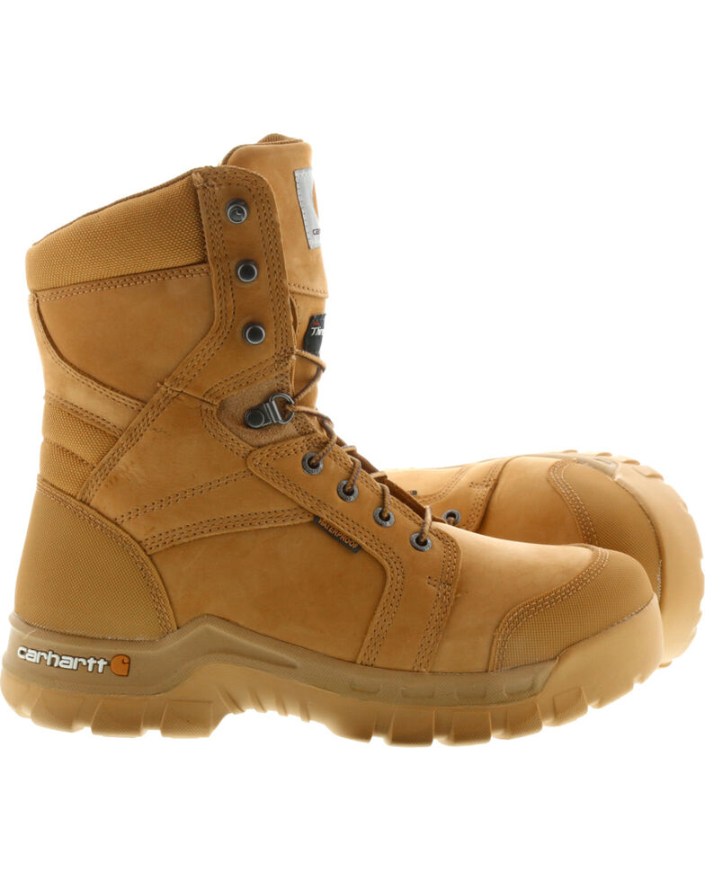"Carhartt Men's 8"" Wheat Waterproof Insulated Rugged Flex Work Boots - Round Toe, Wheat, hi-res"