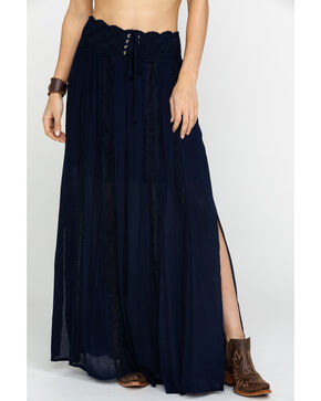 Shyanne Women's Navy Corset Maxi Skirt , Navy, hi-res
