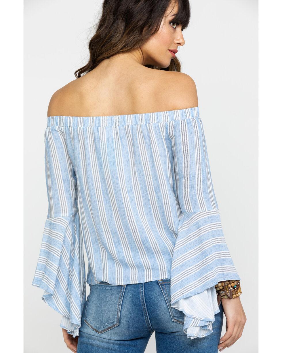 Shyanne Women's Striped Off Shoulder Bell Sleeve Top, Blue, hi-res