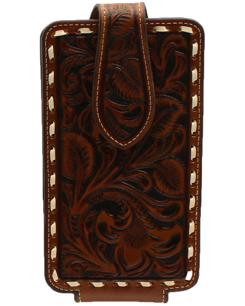 Ariat Men's Cell Phone Case Tooled Wallet , Brown, hi-res