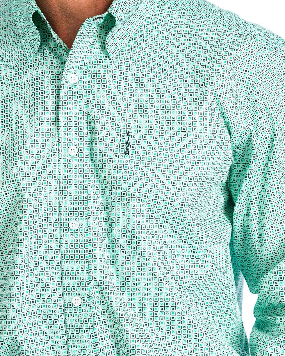 Cinch Men's Modern Fit Turquoise Print Long Sleeve Button Down Shirt , , hi-res