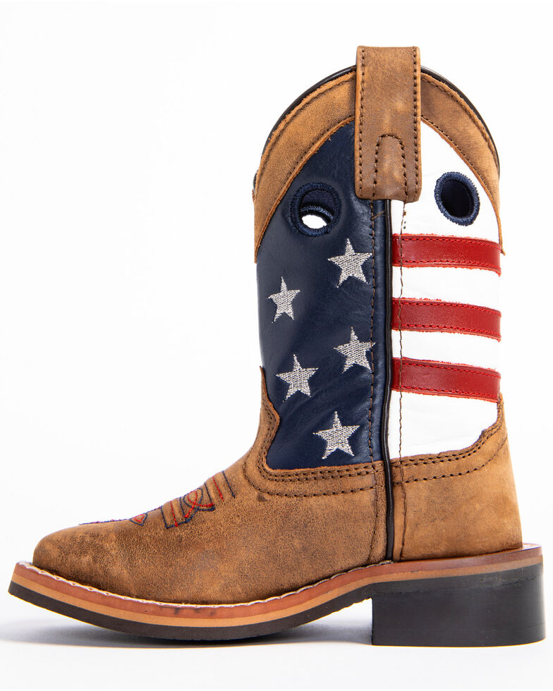 Cody James Boys' USA Flag Western Boots - Wide Square Toe, Brown, hi-res