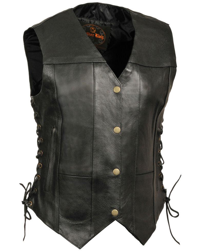 Milwaukee Leather Women's Black 6 Pocket Side Lace Conceal Carry Vest - 3X , Black, hi-res
