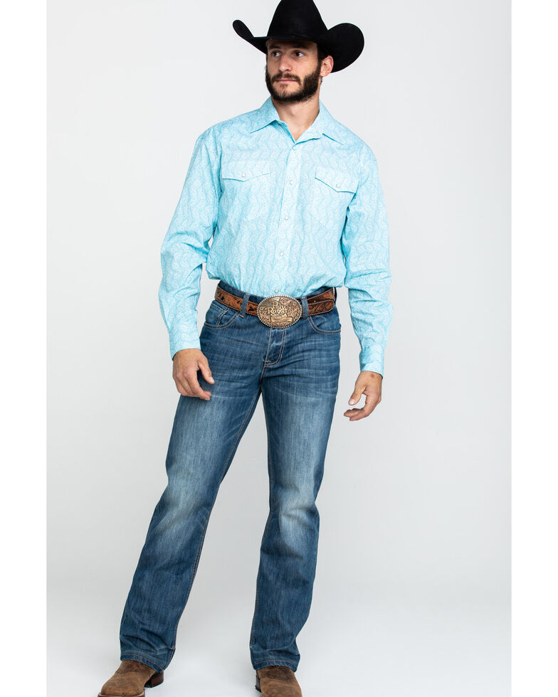 Roper Men's Amarillo Nested Paisley Print Long Sleeve Western Shirt , Blue, hi-res