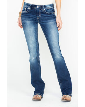 Miss Me Women's Floral Harmony Embroidered Boot Cut Jeans , Medium Blue, hi-res