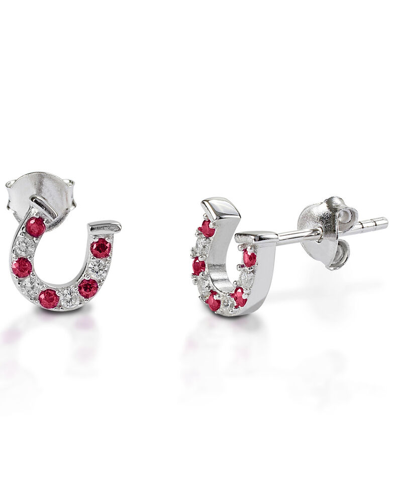 Kelly Herd Women's Red & Clear Horseshoe Earrings , Silver, hi-res