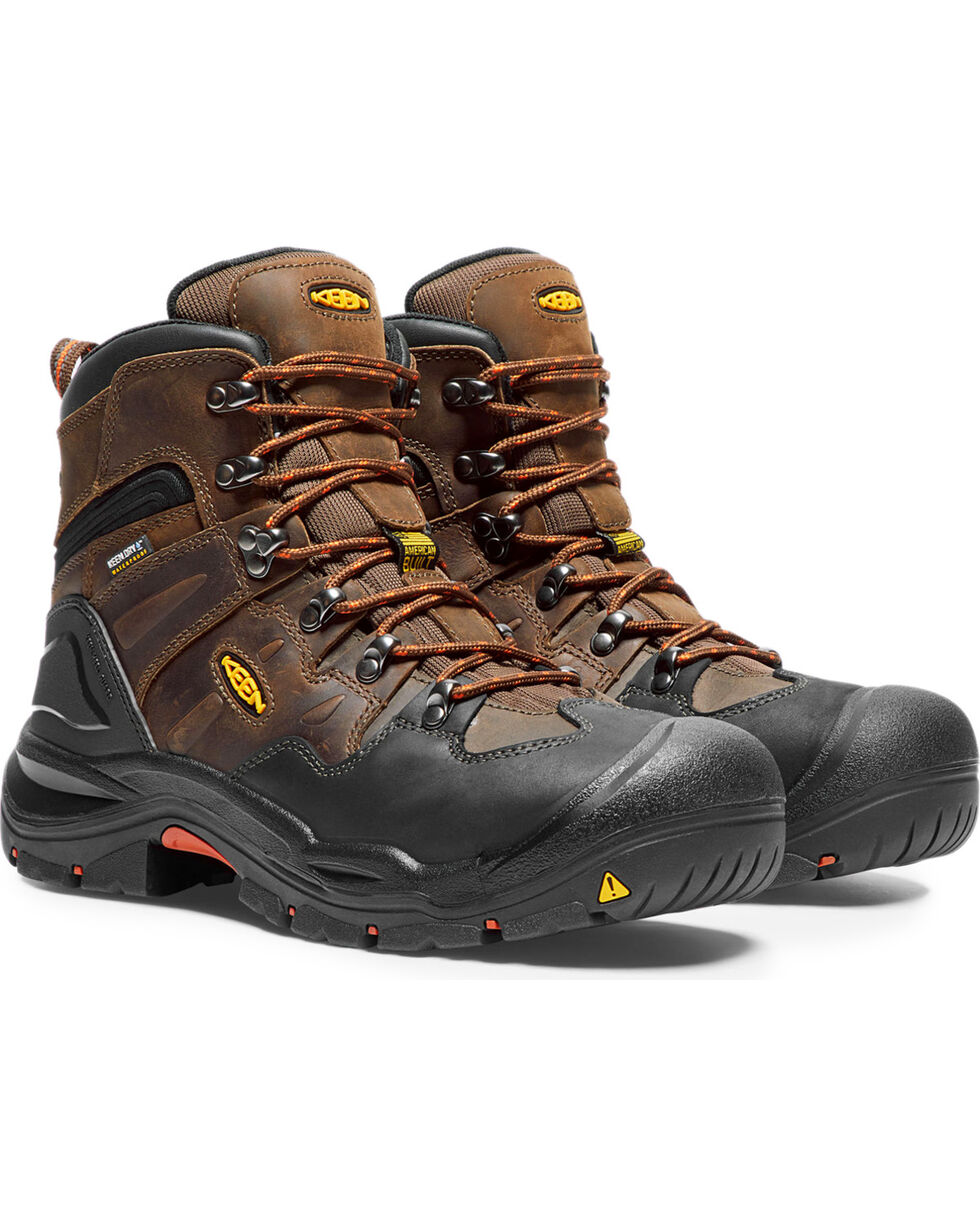 "Keen Men's Brown Utility Coburg Waterproof 6"" Boots - Steel Toe , Brown, hi-res"