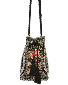Johnny Was Women's Paola Drawstring Bucket Bag, Black, hi-res