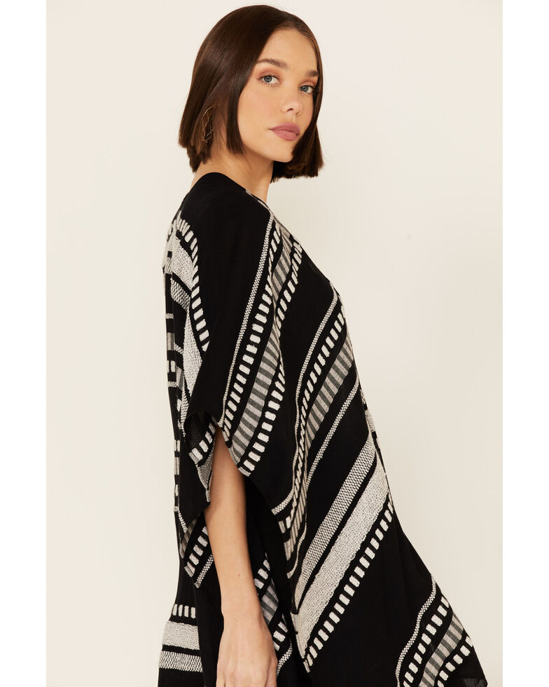 Shyanne Women's Midnight Stripe Woven Shawl, Black, hi-res