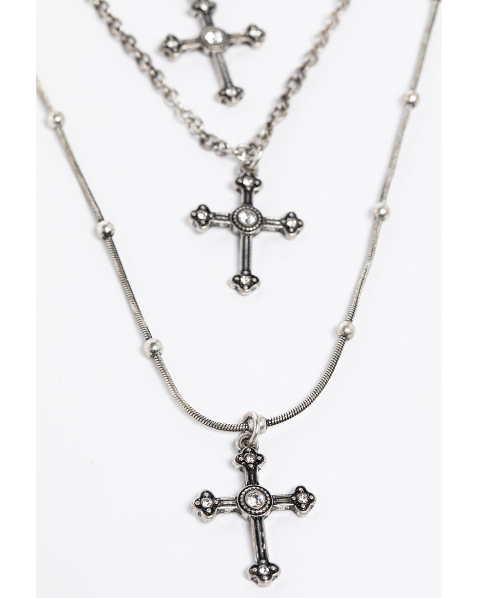 Shyanne Women's Crystal Cross Triple Layered Cross Necklace Set, Silver, hi-res